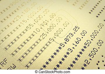 Book bank statement account
