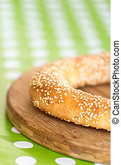 Selective focus round pastry with sesame