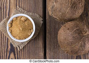 (selective, orzech kokosowy, cukier, dłoń, focus)