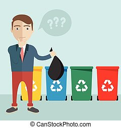 Selective sorting, Different colored recycle waste bins vector illustration
