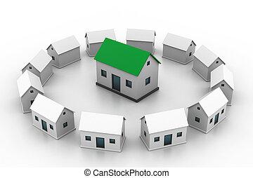 selekteer, woning, market., jouw, huisvesting