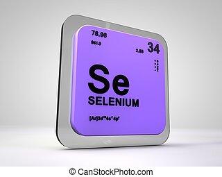 Selenium- Se - chemical element periodic table 3d render