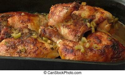 seler, kurczak, upieczony, piec