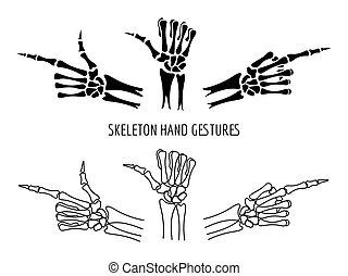 Seleton hands gestures silhouettes