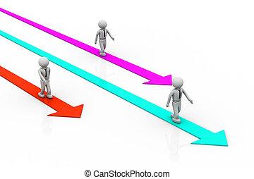 selezione, il, destra, direzione