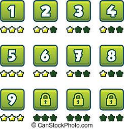 selezione, verde, livello