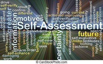 self-assessment, concepto, encendido, plano de fondo