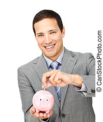 self-assured, üzletember, takarékbetét pénz, alatt, egy, piggy-bank
