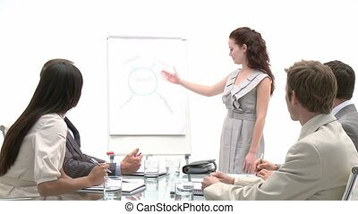 Self-assured business woman doing a presentation in a...