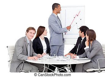 Self-assured businessman reporting sales figures