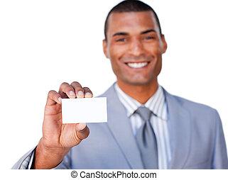 Self-assured businessman showing a business card