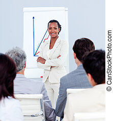 Self-assured businesswoman doing a presentation to her team