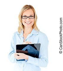 Self-assured businesswoman holding clipboard