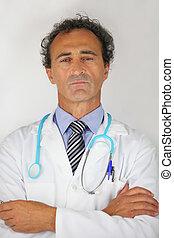 self-assured, retrato, doutor