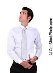 self-assured, retrato, homem negócios