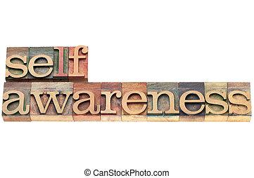 self-awareness word in wood type - self-awareness word -...