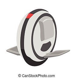 Self balancing unicycle electric scooter isolated over white...
