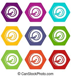 Self balancing wheel icon set color hexahedron