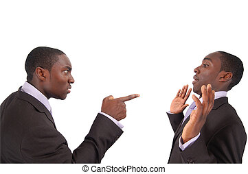 """This is an image of business man arguing against himself. This represents """"Self blame"""", """"Accusation"""", """"Fault"""" etc.."""