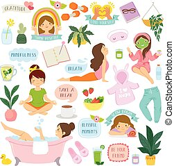 Self care and well-being clipart set