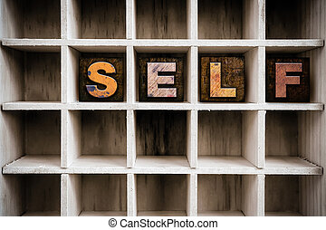 Self Concept Wooden Letterpress Type in Drawer - The word...