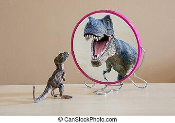 A little self confident baby tyrannosaurus rex see itslef like a big tyrannosaurus rex into mirror