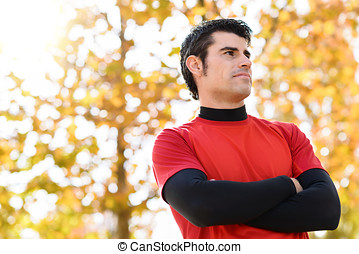 Self confidence idly man - Handsome sportsman idly with self...