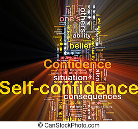 Self-confidence is bone background concept glowing -...