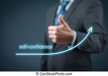 Self-confidence improvement concept. Businessman is...