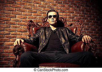self-confident man - Portrait of a brutal confident young...