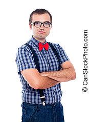Self-confident nerd - Portrait of funny self-confident nerd ...