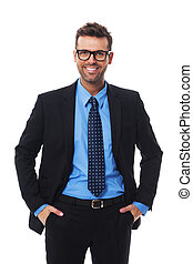 Self confident, pleased  and hansom businessman