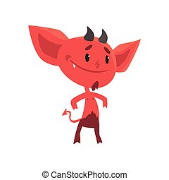 Self-confident smiling red devil stands isolated on white background. Flat cartoon fictional character with little horns, big ears and tail