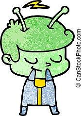 self conscious cartoon spaceman