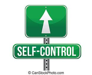 self control road sign illustration design over a white...