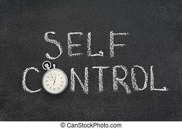 self control phrase handwritten on chalkboard with vintage...