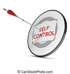 Target with one paper fixed on it one arrow hit the center, red and white tones. Concept image of self control
