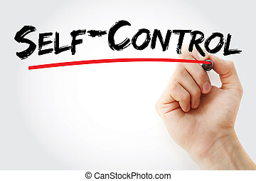 Self - Control text with marker, concept background