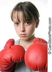Self Defence - A young girl taking up boxing for...