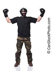 self defence sport - krav maga athete isolated on white