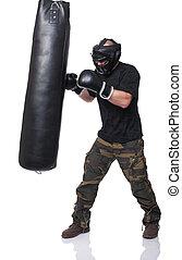 self defence training - krav maga athete isolated on white