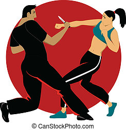 Self-defense for women - Woman learning self-defense...
