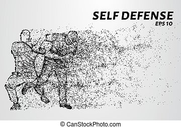 Self-defense of the particles. The struggle with the robbers. Silhouette of dots and circles. Vector illustration.