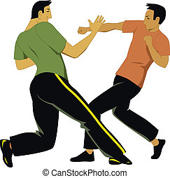 Two men practice a self-defense martial art, vector illustration, no transparencies