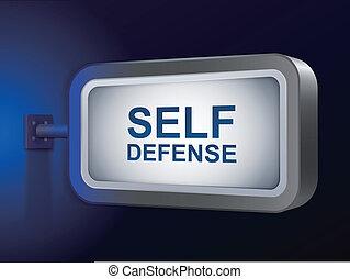 self defense words on billboard over blue background