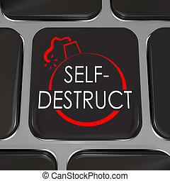 self-destruct, キー, の上, キーボード, 弾力性, コンピュータ, やめられる
