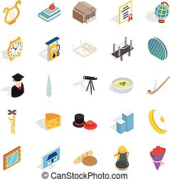 Self development icons set, isometric style