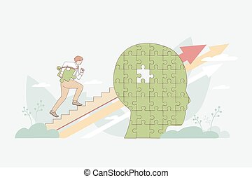 Self development, improvement and personal growth concept