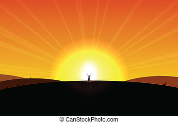 Man standing in front of the rising sun, appear liberated or sort.