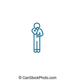 Self-doubt linear icon concept. Self-doubt line vector sign,...